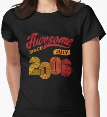 Awesome Since July 2006 Shirt Vintage 12th Birthday Women's Fitted T-Shirt