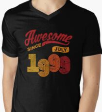 Awesome Since July 1999 Shirt Vintage 19th Birthday Men's V-Neck T-Shirt