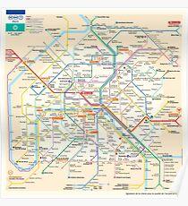 Póster Mapa del metro de París - Francia