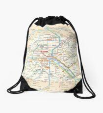 Paris Subway Map - France Drawstring Bag