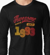 Awesome Since July 1993 Shirt Vintage 25th Birthday Long Sleeve T-Shirt
