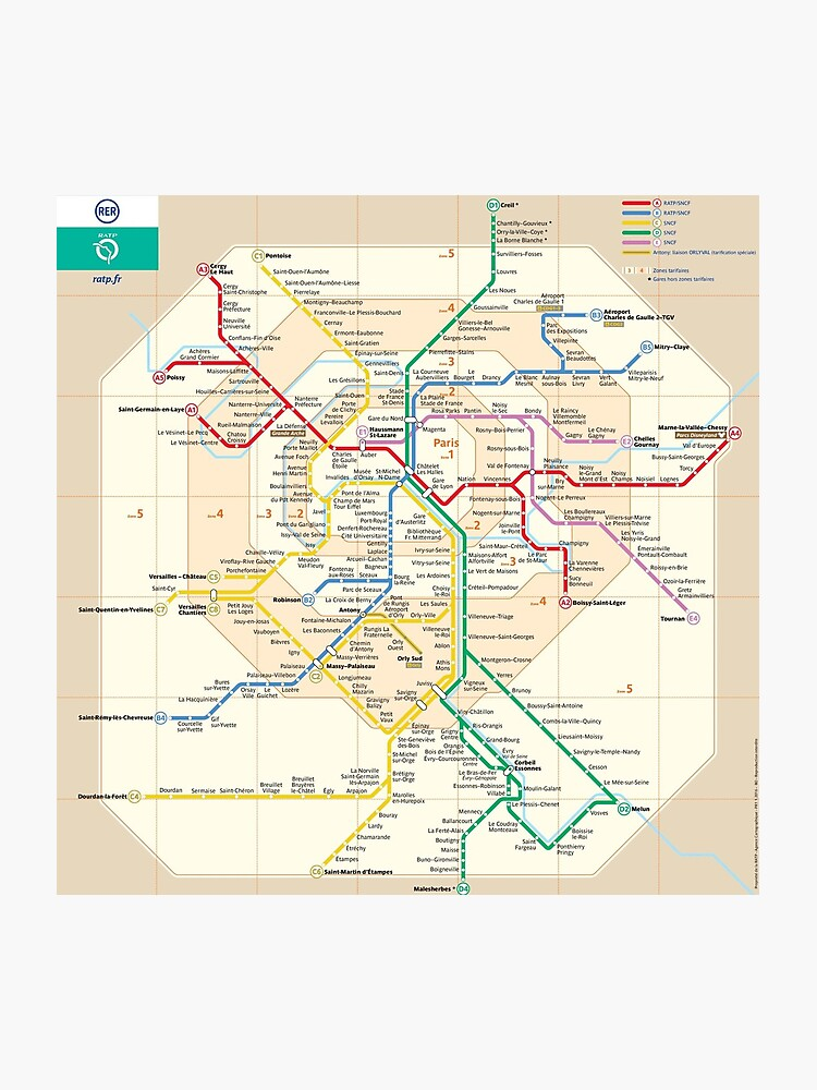Map Of France To Print.Paris Rer Map France Photographic Print