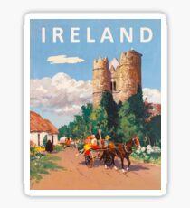 Ireland, village road with chariots, vintage travel poster Sticker