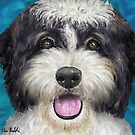 Painting of a Black and White Shih Tzu with Tongue Out by ibadishi