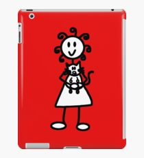 The Girl with the Curly Hair Holding Cat - Red iPad Case/Skin