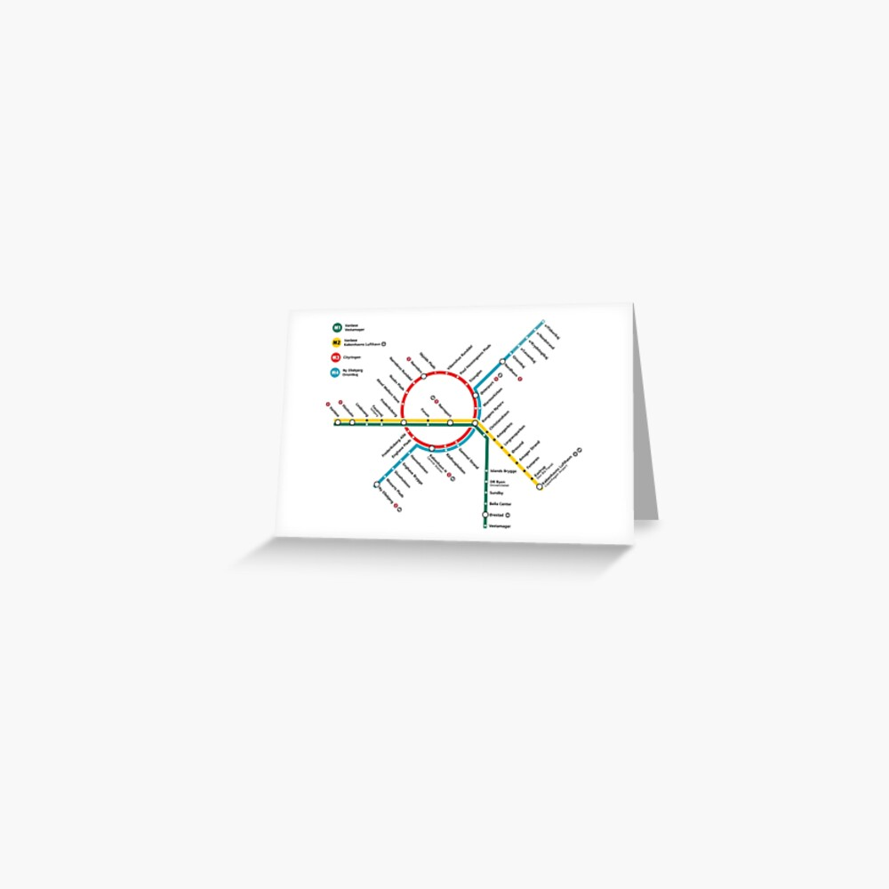 Copenhagen metro map denmark greeting card