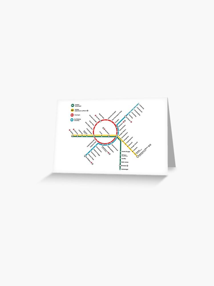 Copenhagen Metro Map - Denmark | Greeting Card