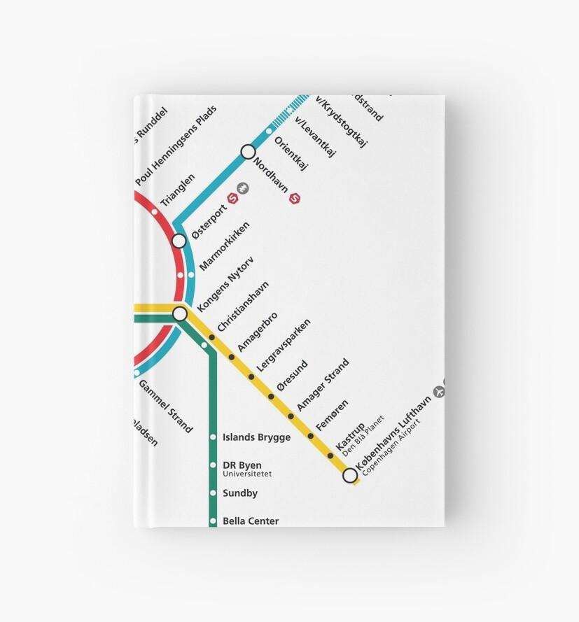Copenhagen Metro Map Denmark Hardcover Journals By Superfunky