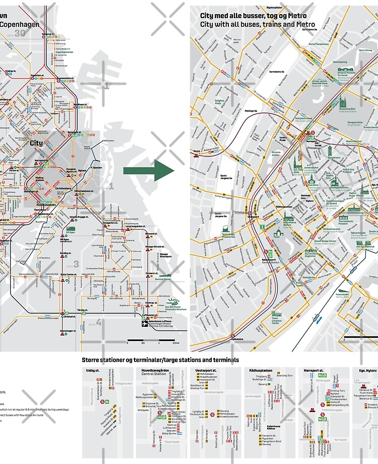Copenhagen Bus, Metro and Train Map - Denmark | iPad Case & Skin