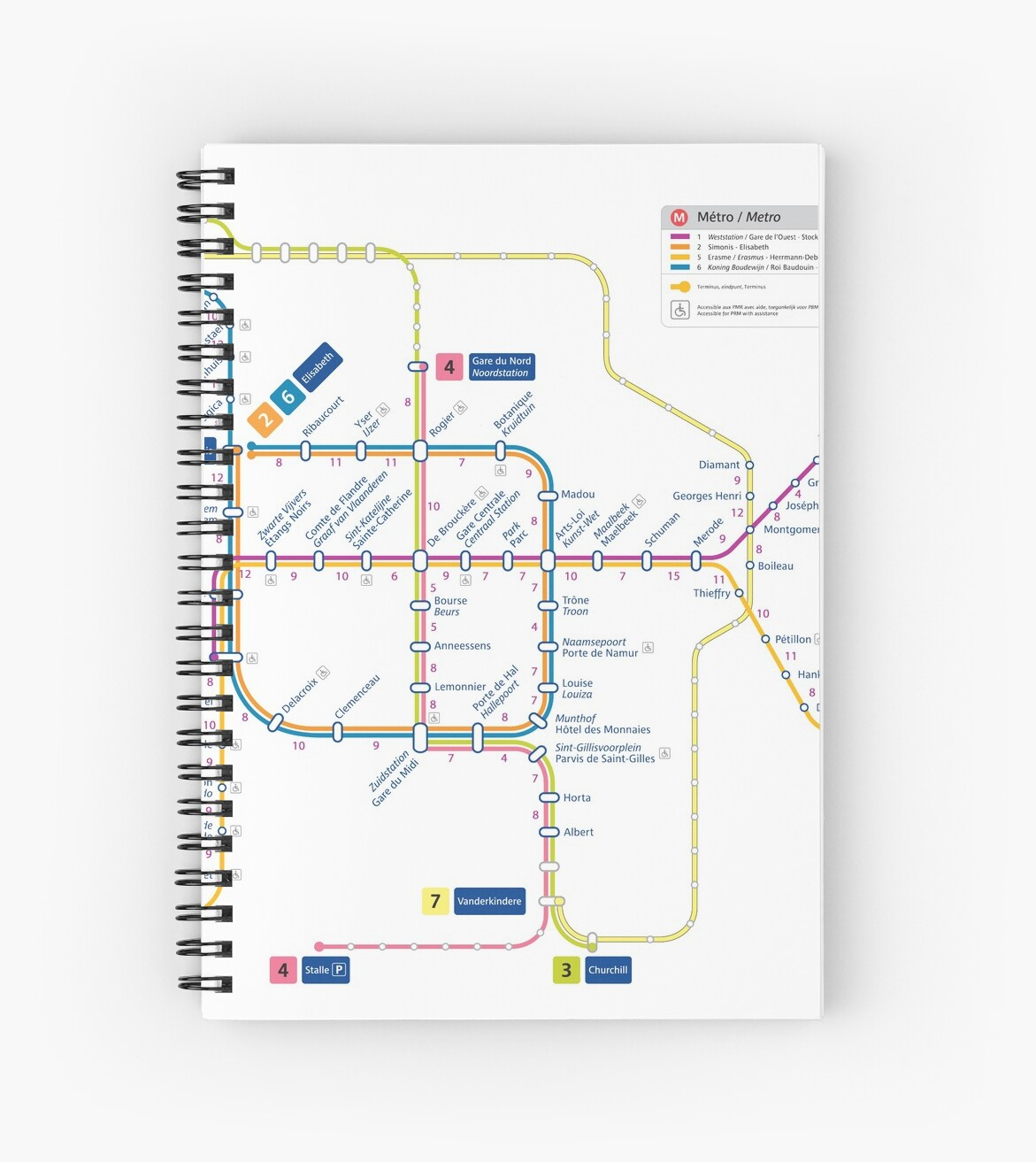 Brussels Metro Map Belgium Spiral Notebooks By Superfunky Redbubble