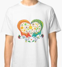 Valentine's Day. Love cute card. Two color cartoon foxes Classic T-Shirt