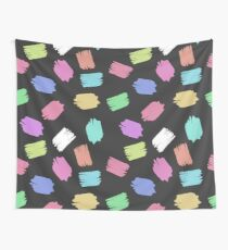Colorful Brush Strokes - Blue Green Pink Purple Wall Tapestry