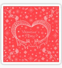 Valentine's day card, doodle style.Cute ethnic two foxes with tails folded in the shape of heart. Sticker