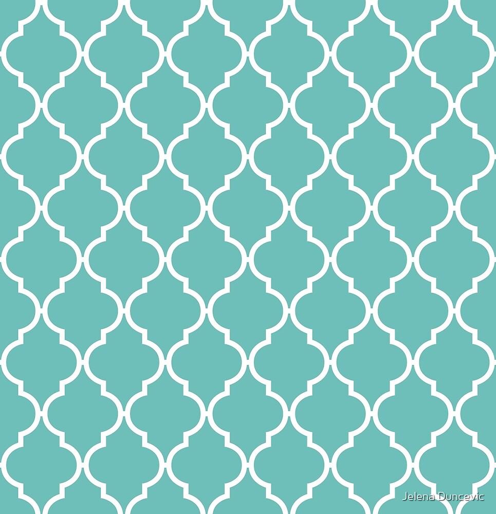 Moroccan Trellis, Latticework - Blue White by sitnica