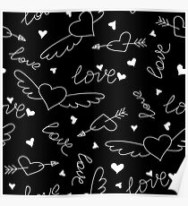 Pattern with heart, love, arrow, lettering text Poster