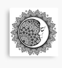 Intricate ornate bohemian crescent moon with stars and mandala. Canvas Print