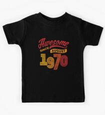 Awesome Since August 1970 Shirt Vintage 48th Birthday Kids Tee