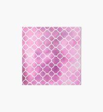 Quatrefoil Shape, Watercolors - Pink White Art Board