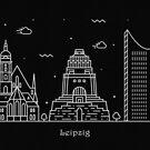 Leipzig Skyline Minimal Line Art Poster by A Deniz Akerman
