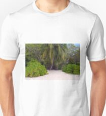 Exotic vegetation on the beach in Maldives with palm trees Unisex T-Shirt