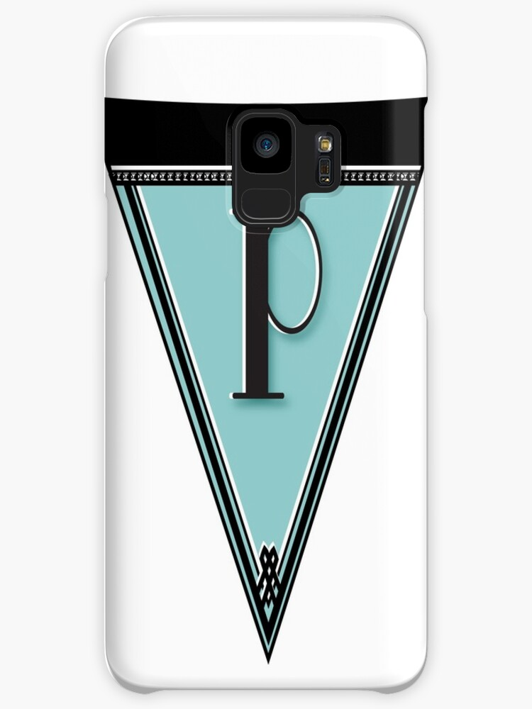 Pennant Deco Blues Monogram  … initial P by CecelyBloom