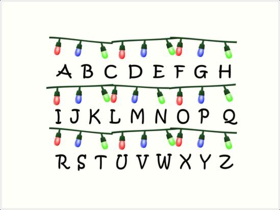 Stranger Things Christmas Lights Png.Stranger Things Christmas Lights Alphabet Art Print By Shadowoftheday