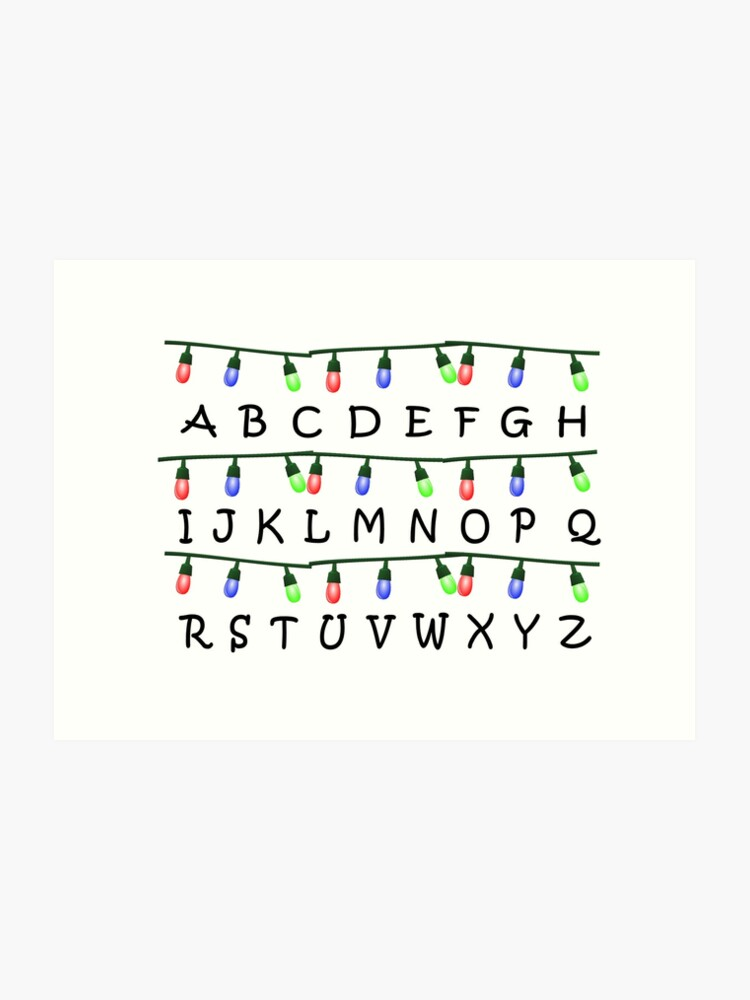 Stranger Things Christmas Lights.Stranger Things Christmas Lights Alphabet Art Print