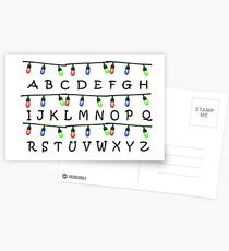 Stranger Things Christmas Lights Alphabet Postcards