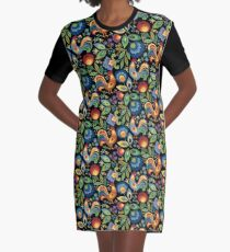 Folk Roosters Graphic T-Shirt Dress
