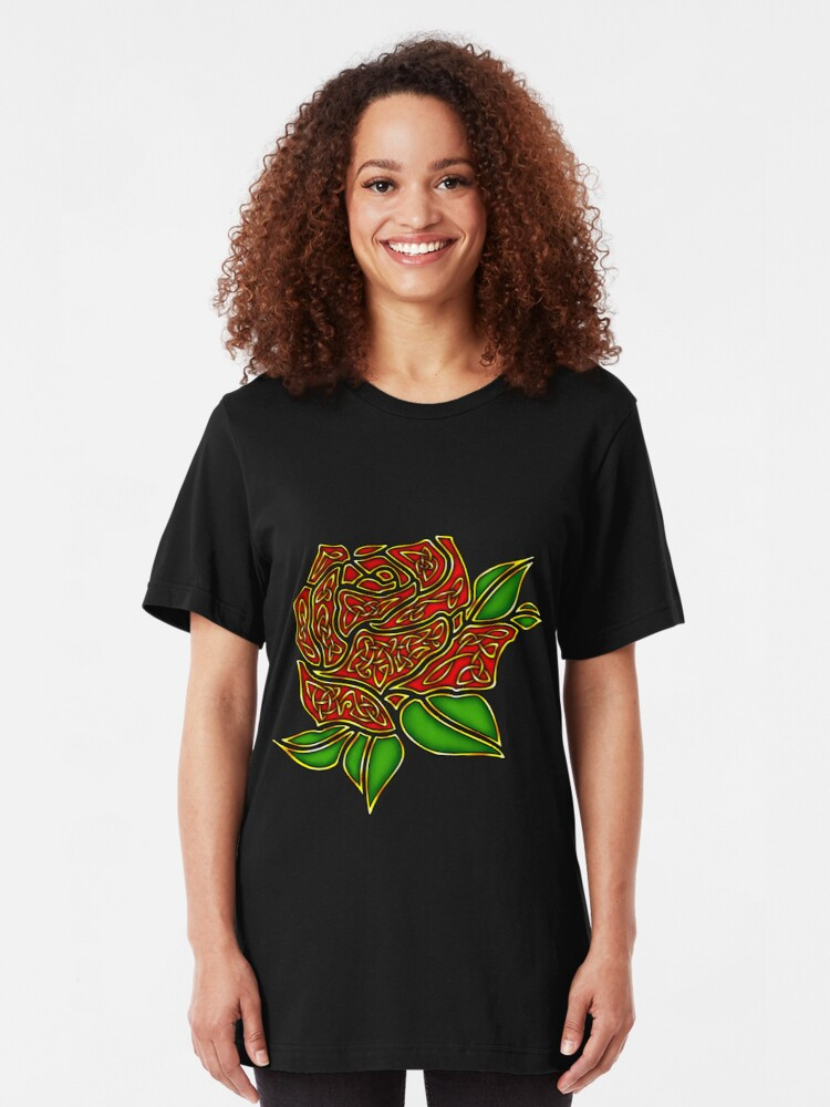 Alternate view of Celtic Rose Slim Fit T-Shirt