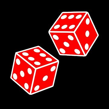 LUCKY, DOUBLE SIX, DICE, RED DICE, Throw the Dice, Casino, Game, Gamble, CRAPS, on BLACK by TOMSREDBUBBLE