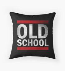 OLD SCHOOL White Throw Pillow