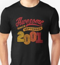 Awesome Since September 2001 Shirt Vintage 17th Birthday Unisex T-Shirt