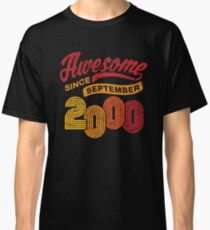 Awesome Since September 2000 Shirt Vintage 18th Birthday Classic T-Shirt