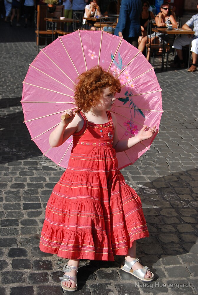 Pink parasol girl by Nancy Huenergardt