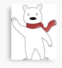 Scarf Bear says Hi! Canvas Print