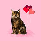 Cat valentines day love heart balloons cat breed must have tortoiseshell by PetFriendly