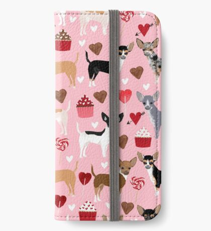 Chihuahua love hearts cupcakes valentines day gift for chiwawa lovers iPhone Wallet