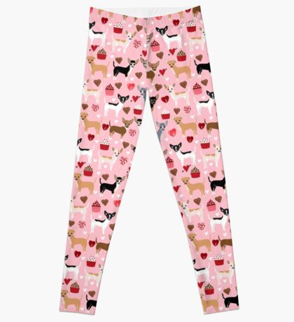 Chihuahua love hearts cupcakes valentines day gift for chiwawa lovers Leggings