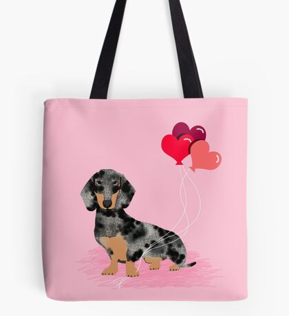 Dachshund love heart balloons valentines day pet portrait doxie lover  Tote Bag