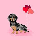 Dachshund love heart balloons valentines day pet portrait doxie lover  by PetFriendly