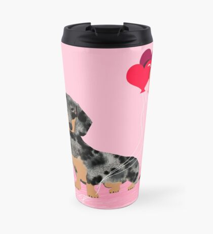 Dachshund love heart balloons valentines day pet portrait doxie lover  Travel Mug