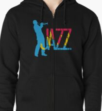 Colorful Jazz Trumpet Player Zipped Hoodie