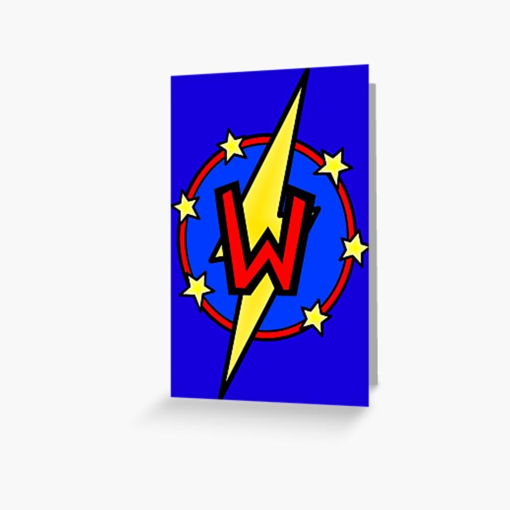 Cute Little SuperHero Geek - Super Letter W Greeting Card