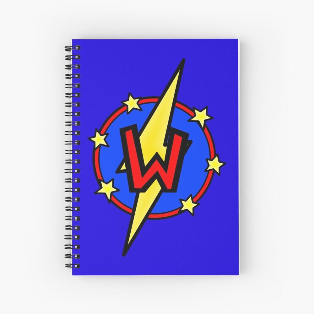Cute Little SuperHero Geek - Super Letter W Spiral Notebook