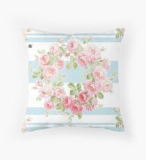 May Day Summer Roses aqua stripe Throw Pillow