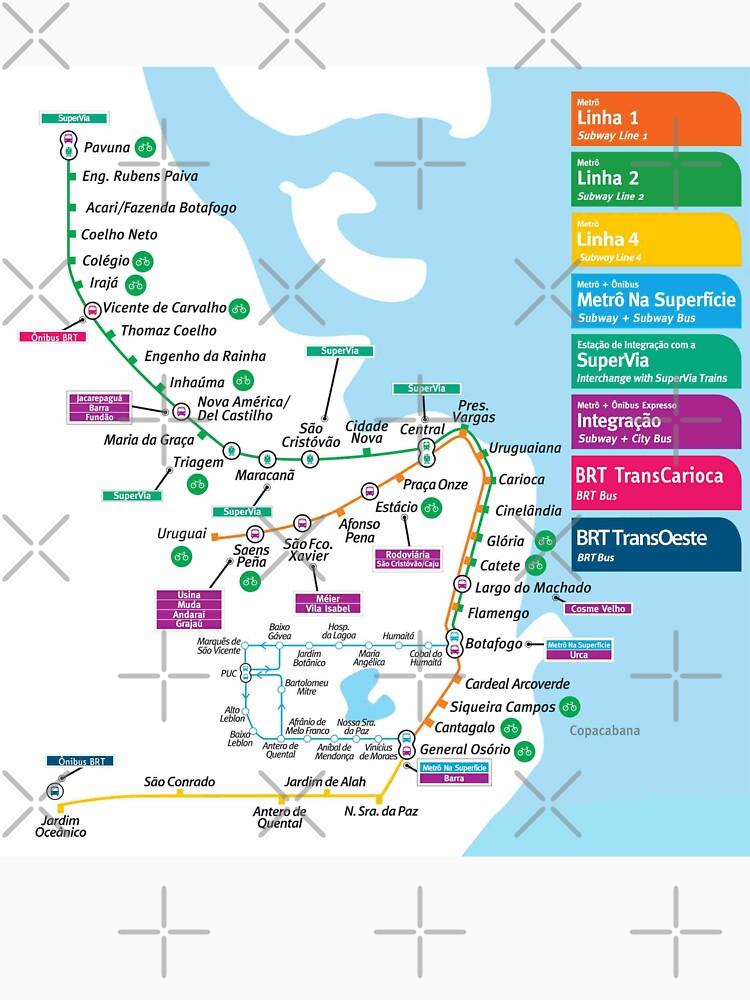 Rio de Janeiro Metro Map Brazil Classic TShirt by superfunky
