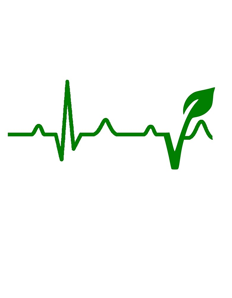 Vegan Symbol Heartbeat Green Vegan Earth Planet By Geekmerch
