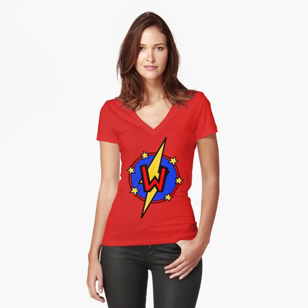 Cute Little SuperHero Geek - Super Letter W Fitted V-Neck T-Shirt