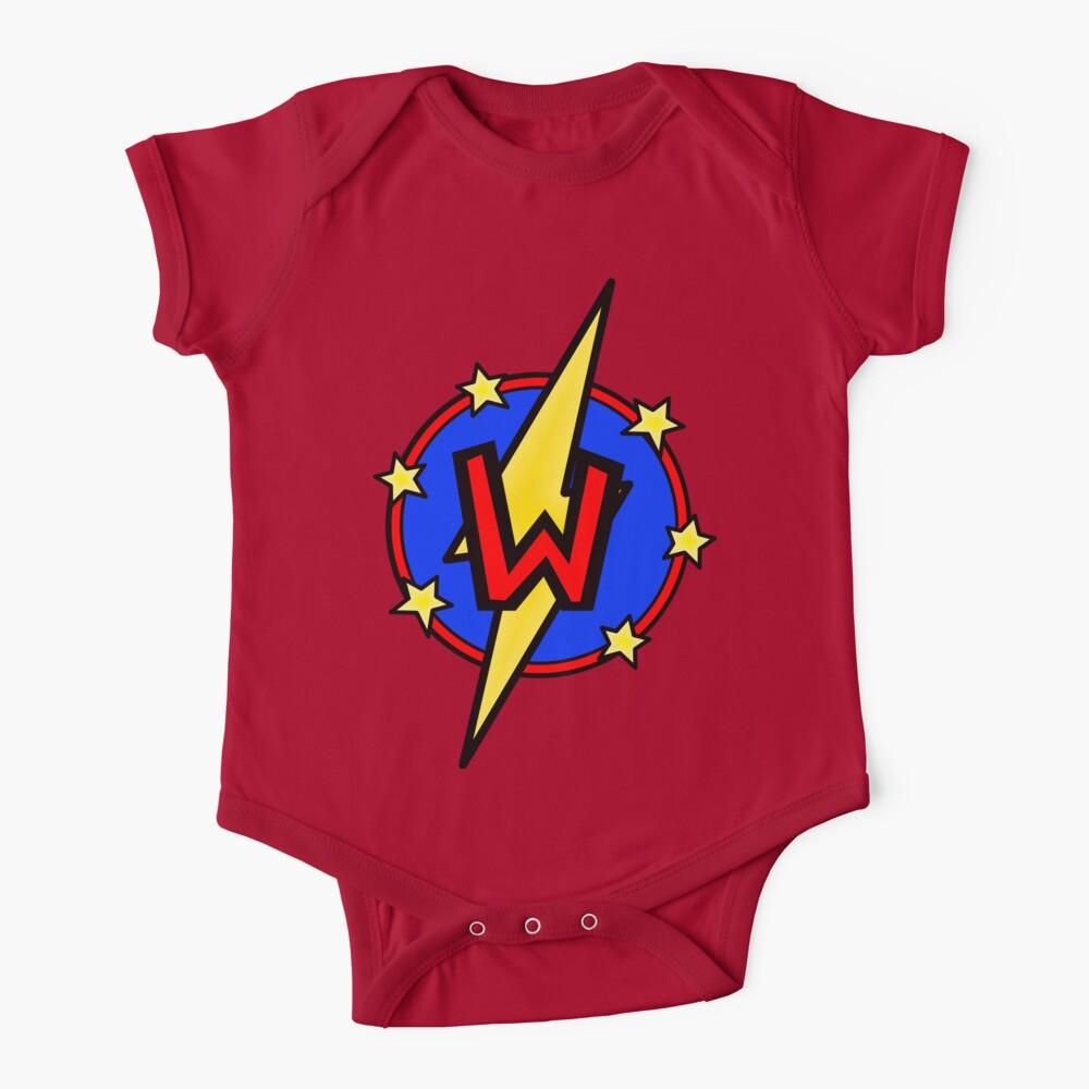 Cute Little SuperHero Geek - Super Letter W Baby One-Piece